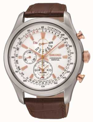 Seiko Relógio de couro marrom em aço inoxidável de couro branco SPC129P1