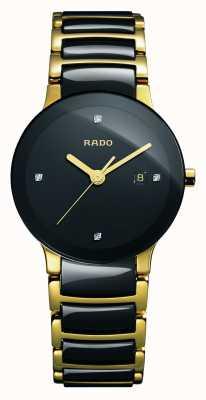 RADO Relógio de mostrador preto cerâmico de alta tecnologia dos diamantes Centrix R30930712