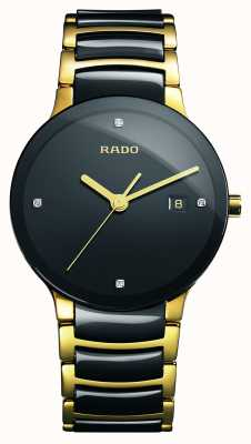 Rado Relógio de mostrador preto cerâmico de alta tecnologia dos diamantes Centrix R30929712