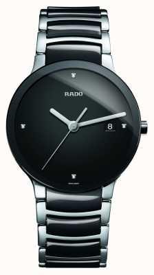 Rado Relógio de mostrador preto cerâmico de alta tecnologia dos diamantes Centrix R30934712
