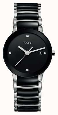 RADO Relógio de mostrador preto cerâmico de alta tecnologia dos diamantes Centrix R30935712