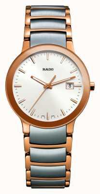 Rado Centrix em aço inoxidável com dois tons, mostrador branco R30555103