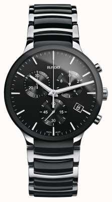 Rado Relógio de pulseira de cerâmica preta, cronógrafo Centrix R30130152