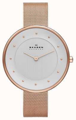 Skagen Ladies klassik relógio de malha dourada SKW2142