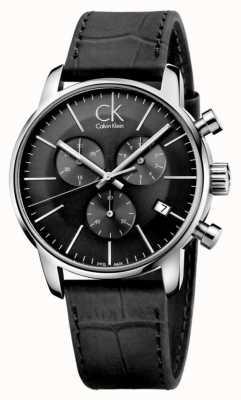 Calvin Klein Mens relógio de pulseira de couro preto e aço inoxidável K2G271C3
