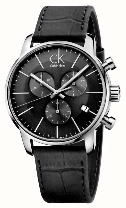 Calvin Klein Mens Relógio De Pulseira De Couro Preto E Aço ... 94e55c93ca