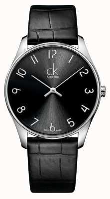 Calvin Klein Relógio de couro clássico para homens K4D211CX