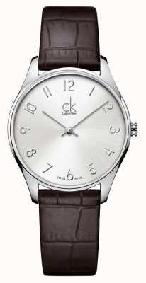 Calvin Klein Relógio de couro clássico para senhoras K4D221G6