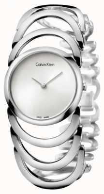 Calvin Klein Relógio de couro de corpo de senhoras K4G23126