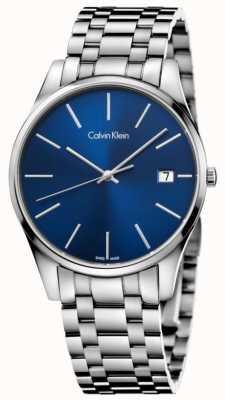 Calvin Klein Data do relógio azul prateado para homem K4N2114N