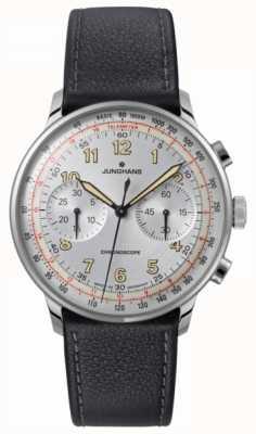 Junghans Bracelete de couro preto meister para telemóveis 027/3380.00
