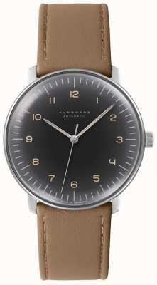 Junghans Mens max bill automático preto discagem couro marrom relógio 027/3401.04