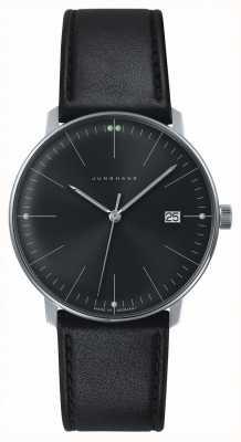 Junghans Mens max bill quartz plain black dial relógio de couro preto 041/4465.00