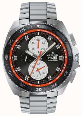 Junghans Ex exibir mens 1972 cronómetro solar relógio de aço inoxidável 014/4202.44-EX-DISPLAY