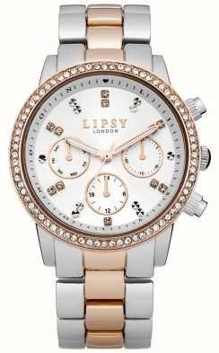 Lipsy Relógio feminino branco e de dois tons LP161