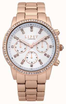 Lipsy Bracelete de aço inoxidável em ouro rosa com mostrador diamante LP240