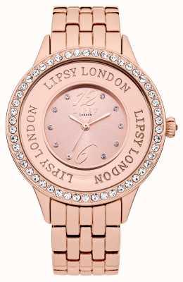Lipsy Relógio feminino de pulseira de tom rosa com conjunto de cristal rosa LP140