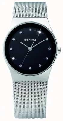 Bering Aço feminino, mostrador preto, relógio de cristal 12927-002