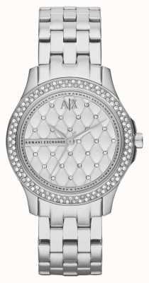 Armani Exchange Conjunto de cristal de pulseira de aço inoxidável inteligente para mulheres AX5215