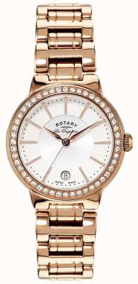 Rotary Womens les originales placa de ouro relógio conjunto de cristal LB90085/02L
