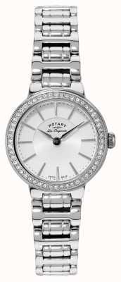 Rotary Womens les originales aço inoxidável relógio de cristal LB90081/02