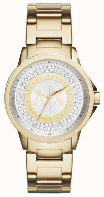 Armani Exchange Conjunto de cristal banhado a ouro urbano feminino AX4321