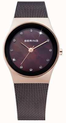 Bering Aço ip preto das mulheres, discagem pérola, cristal 12927-262