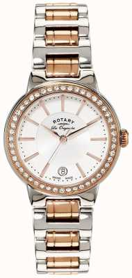 Rotary Womens les originales subiu relógio de cristal de aço de ouro LB90083/02