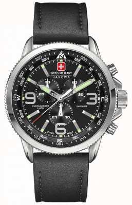 Swiss Military Hanowa Cronógrafo de couro preto em aço inoxidável preto em couro 6-4224.04.007