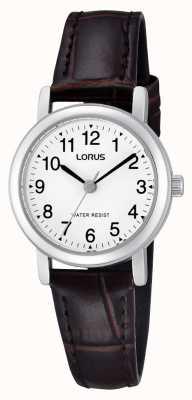 Lorus Relógio de couro em couro de aço inoxidável para mulher RRS57UX9