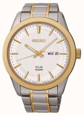 Seiko Relógio de dia / data para homem | pulseira de aço inoxidável bicolor | SNE364P1