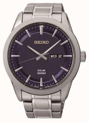 Seiko Mens relógio de aço inoxidável movido a energia solar SNE361P1