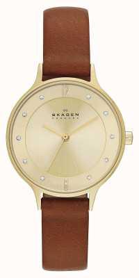 Skagen Ladies anita gold chapeado relógio marrom SKW2147