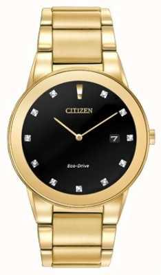 Citizen   axioma dos homens eco-drive   mostrador preto diamante   AU1062-56G