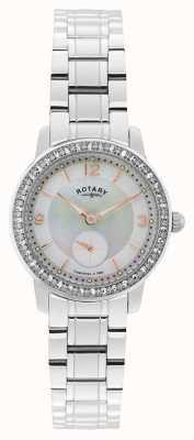 Rotary Womens, cambridge, mostrador de pérola, relógio de cristal LB02700/41