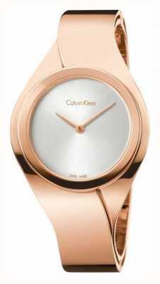 Calvin Klein Sentimentos femininos, ouro rosa, mostrador prata K5N2M626