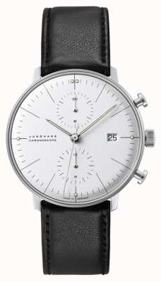 Junghans Cronoscópio Max Bill | automático | pulseira de couro preto 027/4600.04