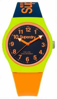 Superdry Relógio de cinta de silicone da Marinha urbana de laranja SYG164MU
