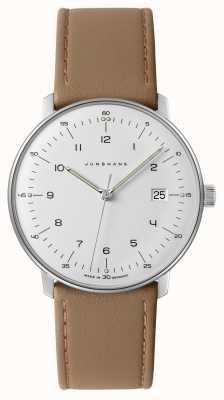 Junghans Mens max bill, relógio branco em couro bege em couro 041/4562.00