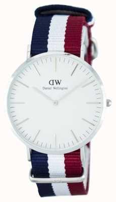 Daniel Wellington Homens clássico cambridge 40mm azul vermelho prata DW00100017