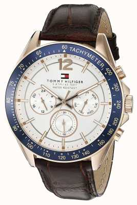 Tommy Hilfiger Relógio de couro marrom luke rose tone para homem 1791118