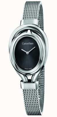 Calvin Klein Correia para mulheres, aço, relógio de medalha de prata K5H23121