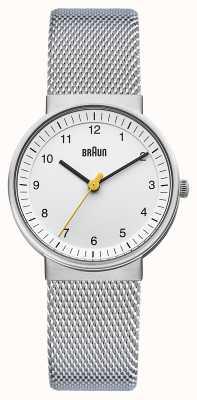 Braun Relógio de senhora | cinta de malha de aço inoxidável | mostrador branco | BN0031WHSLMHL