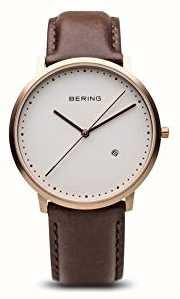 Bering Correia de couro marrom para homens branco 11139-564