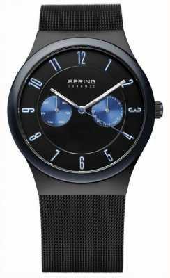 Bering Cerimonial preto para homens, alça de malha, sotaque azul 32139-227
