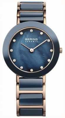 Bering Womens blue ceramic rose, gold, pearl 11429-767