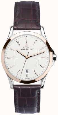 Michel Herbelin Mens lyre aço e ouro rosa, relógio de couro 12213/TR12MA