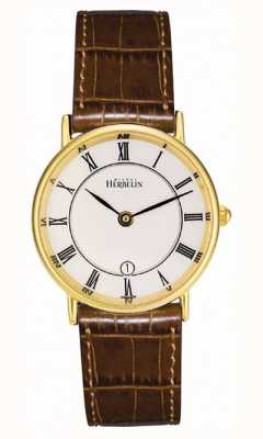Michel Herbelin Bracelete de couro clássico banhado a ouro 16845/P08GO