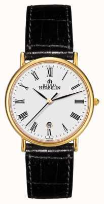 Michel Herbelin Mens sonates, chapa de ouro, relógio de couro preto 12443/P01