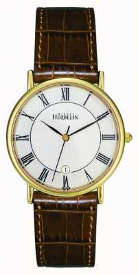 Michel Herbelin Mens pvd relogio banhado a ouro, couro marrom 12443/P08GO